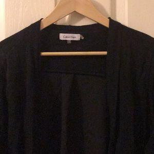 Black open front sheet sweater